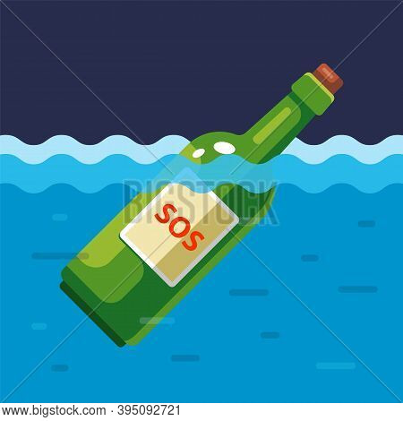 Green Bottle With The Inscription Sos. Survivor Of The Shipwreck Asking For Help. Flat Vector Illust