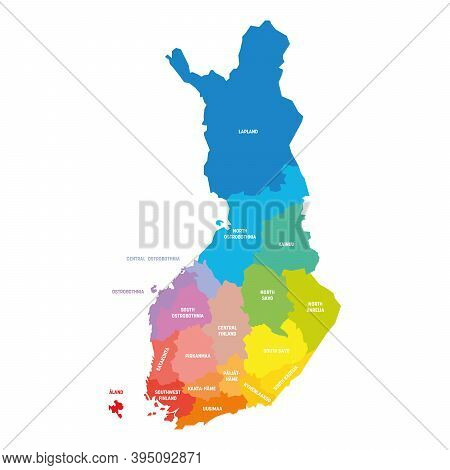 Colorful Political Map Of Finland. Administrative Divisions - Regions. Simple Flat Vector Map With L
