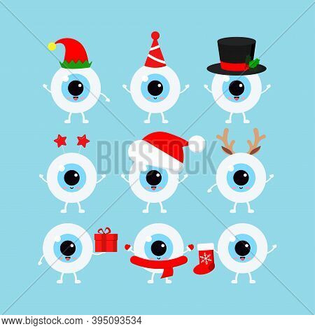 Chistmas Eye, Eyeball Icon Set Isolated On Background. Ophthalmology Xmas Winter Health Eyes Charact