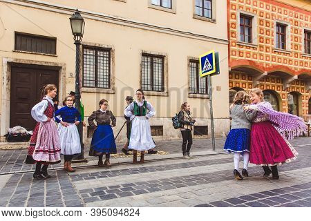 Budapest - March 15, 2019: Hungarian Folk Dance Group Of Children On A Street In The Buda Castle On