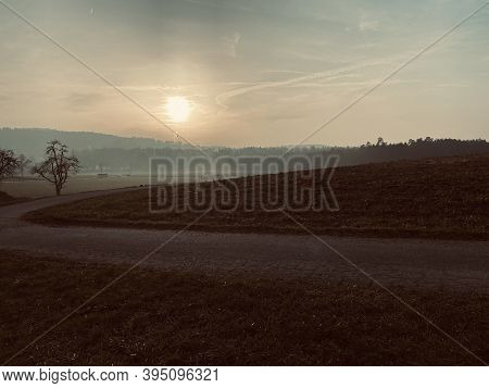 The Sun Is Shining On A Path Just Before Sunset On A Nice Winter Evening Near Zurich. In The Backgro