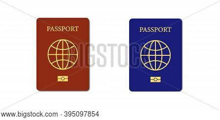 International Biometric Passport . Cover Page Of Red And Blue Passports . Vector Illustration On Whi