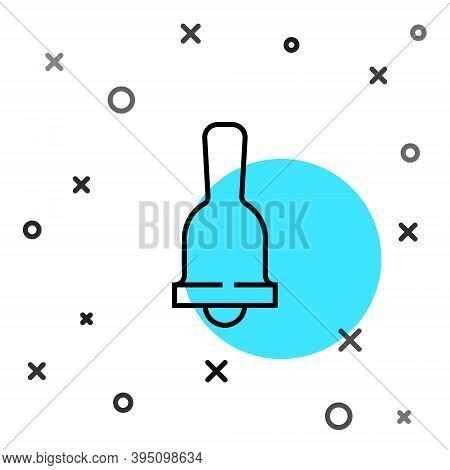 Black Line Ringing Bell Icon Isolated On White Background. Alarm Symbol, Service Bell, Handbell Sign