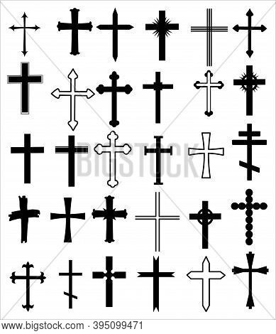 Set Of Different Crosses. Religion Cross Icon Set, Design