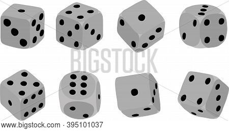 Isolated Dice Set. Rolling Dice Set. Vector Rolling Dice Set