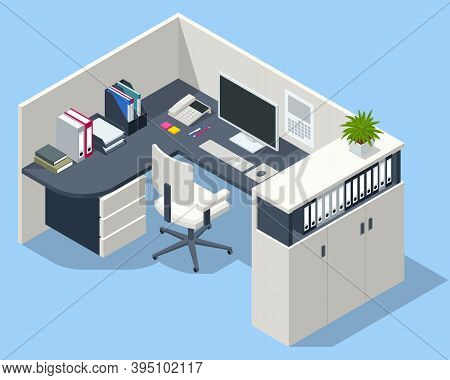 Isometric Massive Computer Table With Desktop And Chair, Office Interior. Modern Cozy Loft Office In