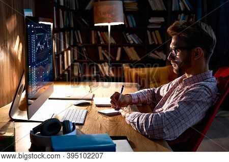 Focused Business Man Trader Analyst Looking At Computer Monitor, Investor Broker Analyzing Indexes,