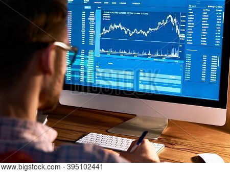 Business Man Trader Broker Looking At Pc Computer Screen, Investor Manager Analyzing Financial Chart