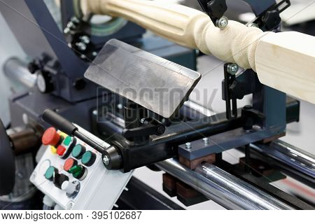 Woodworking Lathe Machine For Stairs Baluster Turning. Selective Focus.