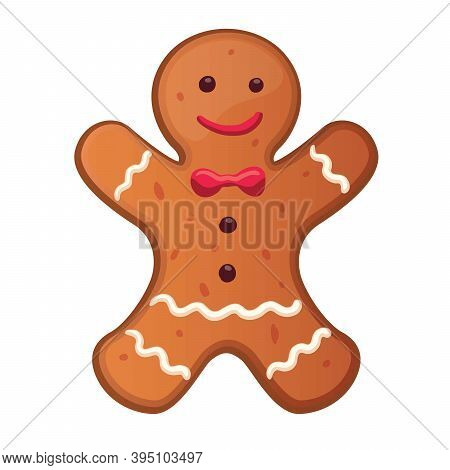 Holiday Gingerbread Man Cookie. Cookie In Shape Of Man With Colored Icing. New Year And Xmas Celebra