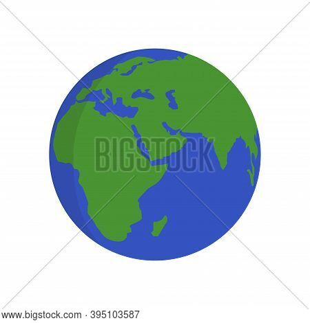 Earth Planet Icon . World Planet Vector Illustration. Planet Earth On Whit Background.