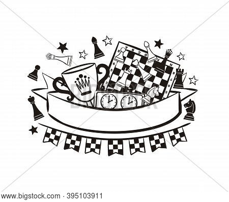 Chess Emblem With Ribbon For Text, Chess Pieces, Cup, Clock And Board. Logo For A Chess Club Or Comp