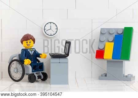 Tambov, Russian Federation - November 14, 2020 Lego Minifigure Businesswoman In A Wheelchair In Her