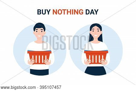 Buy Nothing Day Bnd , Happy Couple People With Empty Grocery Cart. Concept Of Protest Against Consum