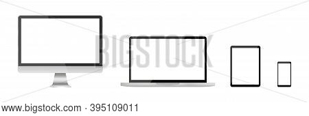 Set Of Realistic Computer , Laptop Tablet And Phone. Screen Computer Monitor. Vector Icon. Digital T