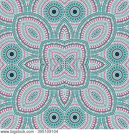 Flat Portugese Azulejo Tile Seamless Ornament. Ethnic Structure Vector Swatch. Curtains Print Design