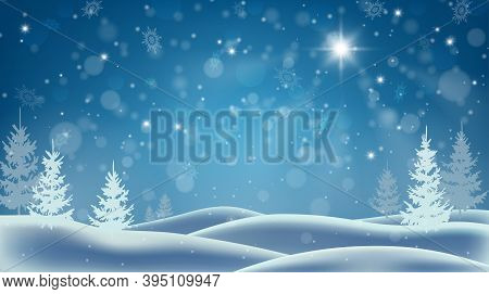 Winter Forest And Snow Drifts. Winter Snowy Landscape. Christmas Background With Snowfall. Shining C