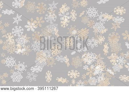 Beautiful Snowflake Pattern White And Gold Falling On A Subtle Pastel Grey Background