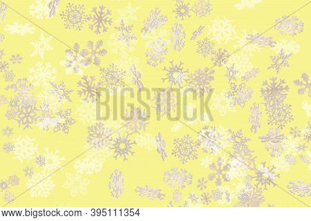 Beautiful Snowflake Pattern White And Gold Falling On A Subtle Pastel Yellow Background