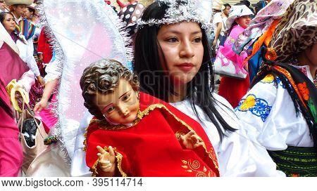 Cuenca, Ecuador-december 24,2019: Christmas Parade Pase Del Nino Viajero In Honor Of Baby Jesus. You