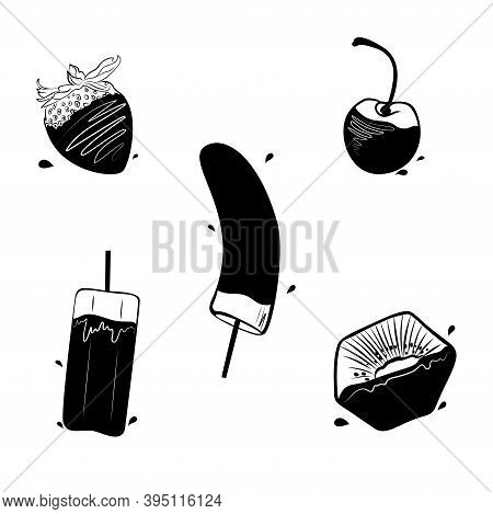 Fruit In Chocolate Vector Illustration In Hand-drawn Style Set Of Five Monochrome Icons With Berries