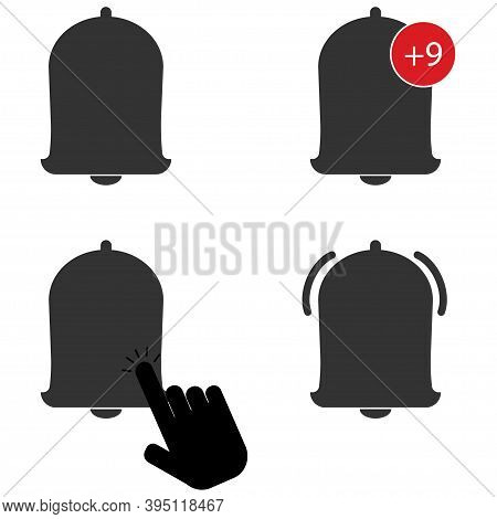 Bell Icon Set . Notification Illustration . Vector Icon . Click.