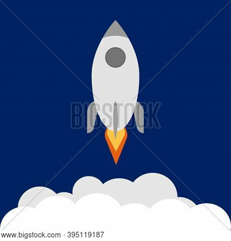 Startup Flat Icon. Rocket Launch With Smoke. Future Concept.