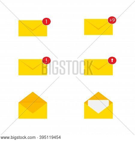 Letter Mail Notification Set, Vector Illustration. Email With Otification.