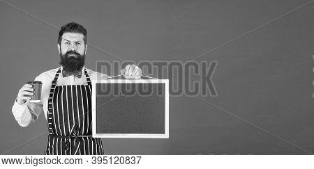 Barista Handsome Worker. Mature Barista. Delicious Cappuccino. Restaurant Staff. Hipster Professiona