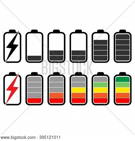 Battery Set Icons .information State Of The Battery Battery Levels Illustration.