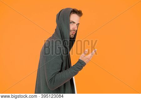 Stay Cool. Stylish And Attractive Guy. Handsome Guy In Hoodie. Guy Wear Casual Style. Caucasian Guy