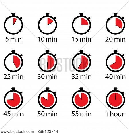 Timer , Stopwatch Min Set Icon . 10 Eps Vector