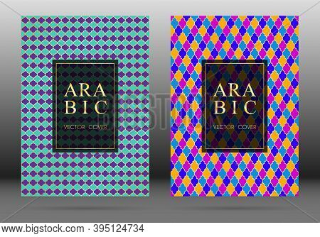 Moroccan Pattern Vector Cover Page Layout Design Collection In Arabic Style Mosaic In Gold Grid. Isl