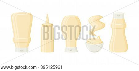 Mayonnaise Sauce Vector Bottles, Jar, Bowl And Stain. 3d Cartoon Mayo Packaging, Mock Up. Condiment
