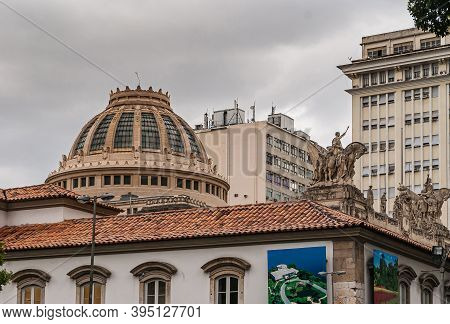 Rio De Janeiro, Brazil - December 26, 2008: El Centro District. Brown Stone Dome With Windows Of Pal