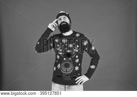 Thoughtful Hipster Touch Beard. Lost In Thoughts. Focused On Choosing A Gift. Should I Wear Warm Clo