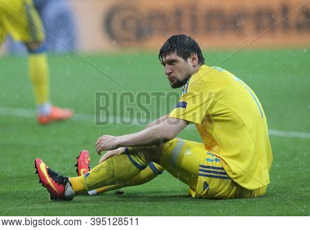 Lyon, France - June 16, 2016: Yevhen Seleznyov Of Ukraine Sits On A Pitch During The Uefa Euro 2016
