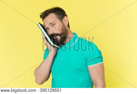 Pressure Of To Do List. Time Management Skills. Man Planning Schedule Hold Notepad. Man Bearded Mana