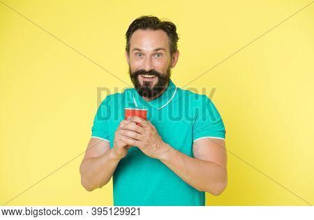 Hipster Mature Man Hold Paper Coffee Cup Stand Yellow Background. Relaxing Coffee Break. Drink It On