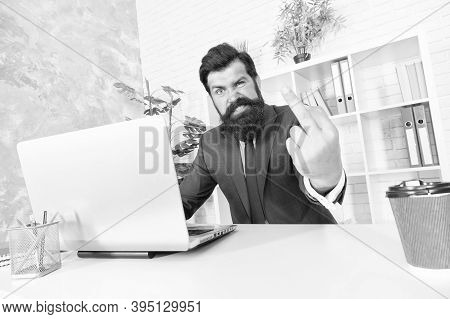 Fuckoff Oclock. Businessman Show Middle Finger Working In Office. Obscene Hand Gesture. Nonverbal Co
