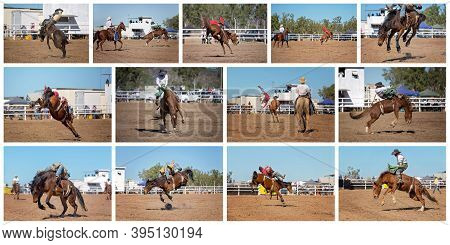 A Collage Of Thirteen Images Of A Cowboy Bareback Riding A Bucking Bronco At An Outback Rodeo