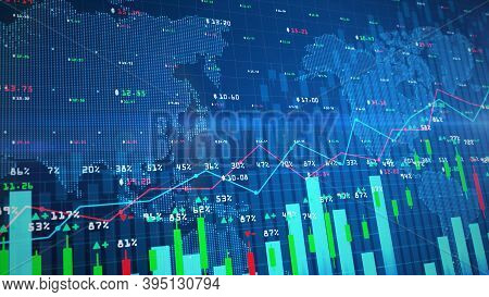 Digital Stock Exchange Market Chart Or Forex Trading Graph And Candlestick Chart Suitable For Financ