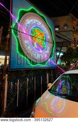 Park Street,kolkata, India - 12th November 2020 : Reflection Of Decorated Diwali Light, Written