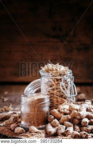 Oat Bran, Grain Oats, Oat Flour, In Glass Jars, Vintage Wooden Background, Selective Focus