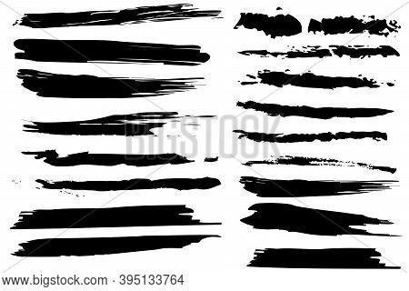 Black Brush Lines In Vintage Style. Vector Brush Stroke. Grunge Texture. Vector Paintbrush Set. Stoc