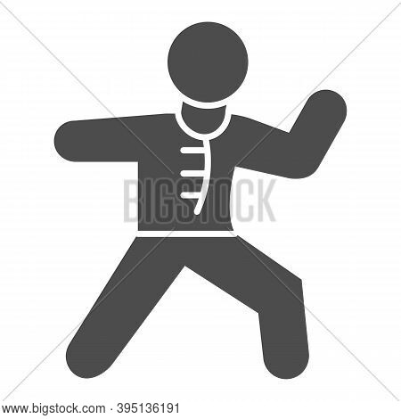 Karate Sportsman Solid Icon, Self Defense Concept, Karate Kick Sign On White Background, Martial Art