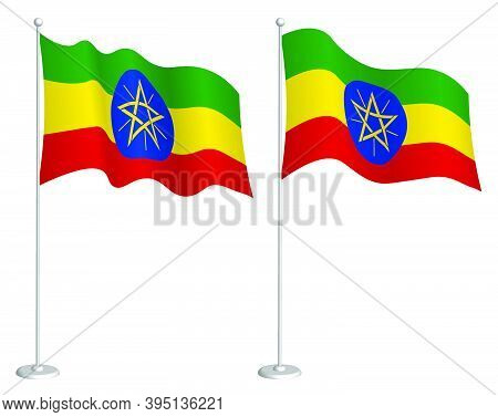 Flag Of Ethiopia On Flagpole Waving In Wind. Holiday Design Element. Checkpoint For Map Symbols. Iso