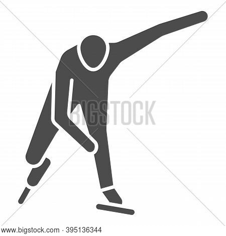 Skater Solid Icon, Winter Sport Concept, Speed Ice Skating Sign On White Background, Ice Skater Icon