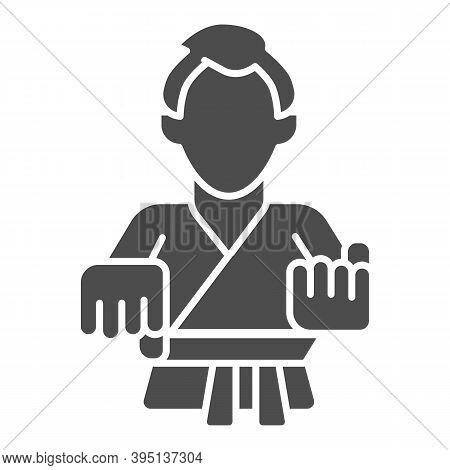 Karate Teacher Solid Icon, Self Defense Concept, Karate Kick Sign On White Background, Martial Arts