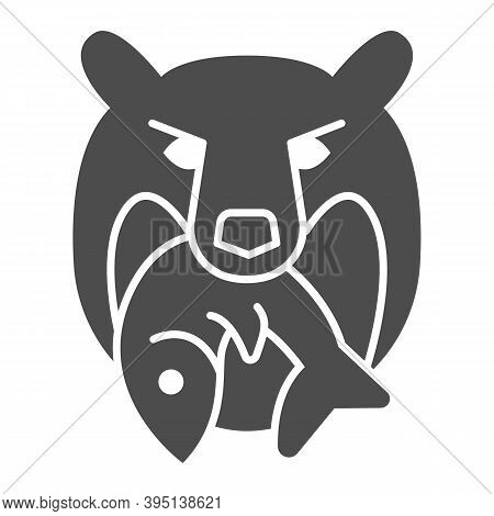 Bear Head With Fish Solid Icon, Marine Concept, Bear And Fish Company Logo Sign On White Background,